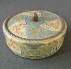 Vintage Tin Flower Floral Design Container Box Made In Holland