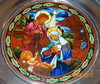 1995 Stained Glass  Pewter Christmas Plate US Historical NATIVITY St Pauls