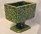 Vtg Dairyland Art Pottery Footed Planter/Vase Rectangular/Geometric Etched 6.5