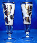 FLUTE SET OF 2 FROSTED CHAMPAGNE GLASSES w/ GOLD ROSE
