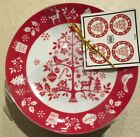 222 Fifth Tivoli Appetizer Plates Christmas Tree Set 4 Red And White