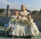 Porcelain Lady Figurine Marked Dresden Lace Victorian German Mother  children