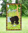 205 x 345 Bear Mother and Son Handcrafted stained glass window panel