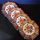 Fitz & Floyd Empress Octagonal SALAD DESSERT Plates SET FOUR FF39 Red Navy GILT