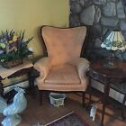 French Country Cottage Provincial Vintage Peach Pink WING BACK  Arm CHAIR