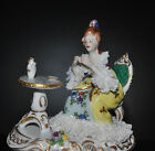 Stunning German Volkstedt Dresden Lace Figurine Lady Woman Drinking Tea