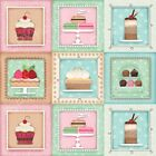 SUGARY SWEET FABRIC PANEL~SPX FABRICS~CUPCAKES, CAKE, CANDY PIE IN SQUARES