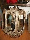 Brass Filigree Hanging Ceiling Light Gothic Look Clear Glass Panels Swag Chain