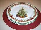 TraditionsHOLIDAY CELEBRATIONS Christopher Radko 4 SALAD PLATES Christmas Tree