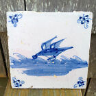 White Glazed Dutch Delft Tile Bird Design