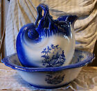 PITCHER SET, FLOW BLUE, ENGLAND