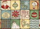 CHRISTMAS WHIMSY~RED ROOSTER FABRIC PANEL~SQUARES~SANTA~SNOWMAN~CAT~SLED~25209