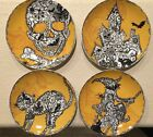222 Fifth WICAN LACE ORANGE HALLOWEEN Appetizer Plate Set Of 4 BLACK CAT SKULL
