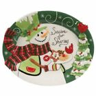 FITZ & FLOYD CHRISTMAS HOLLY HAT SNOWMAN COOKIE PLATTER