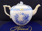 HEREND INDIAN BASKET BLUE TEAPOT,BRAND NEW,30 FL OZ HOLD,WITH ROSE LID END