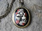 SKULL AND ROSES SEE HEAR SPEAK NO EVIL HAND PAINTED CAMEO LOCKET