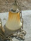 1910 decorative Frosted swirl amber glass hanging light 36 in drop brass cap