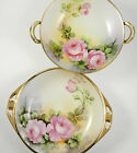 Set 2 Nippon Bowls Vintage Porcelain Hand Painted Pink Roses Gold Trim Signed