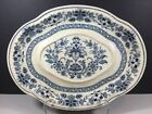 Antique Blue And White Oval Serving Platter 14 1/2