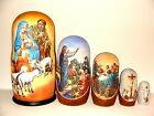 New Hand Painted 7 Christmas Nativity Life of Christ Russian Nesting Doll 5 Pc