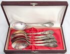 Set of 6 Vintage Russian Silver Plated Melchior Dessert Spoon Box Soviet Tea