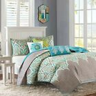 BEAUTIFUL TROPICAL CHIC MODERN BOHEMIAN TEAL BLUE AQUA GREY GREEN QUILT SET NEW!