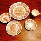 Fair Winds Brown By Alfred Meakin Staffordshire 5 Pc China Porcelain Dinnerware