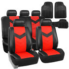 Faux Leather Car Seat Covers for Auto Red W/ Heavy Duty Floor Mats