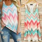 Chevron Tank Top S M L Pink Green Zigzag Printed Blouse Top