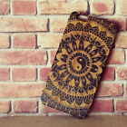 Laser Engraved Floral Tribal Aztec Mandala Yin Yang Wood Case For iPhone 6+