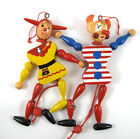 Vintage Pull String Jumping Jack Puppets Dancing Clown  Set of 2