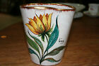 Vintage Italy Signed Hand Painted Pottery  Flower Vase
