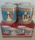 Set of 4 Debbie Mumm SAKURA SNOWMAN Cups Hot Chocolate Coffee Cider Mugs