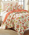 FLORAL Full Queen QUILT 4pc ~ RED PINK ORANGE YELLOW BLUE GREEN BIRDS REVERSIBLE