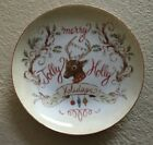 222 Fifth Jolly Holiday Appetizer Plates Christmas Set 4 Reindeer
