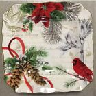 222 Fifth Holiday Wishes Side Salad Plates Set 4 Christmas Red Cardinal