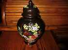 Gorgeous Black Porcelain Ginger Jar by  INTERPUR Peacock and Floral Design