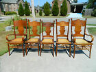 Set of 5 Tiger Oak Cane Bottom Dining Chairs ~ 2 Bent Wood Arm ~ 3 Side c1900