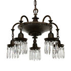 Elegant Antique Five-Light Cast Bronze Chandelier with Prisms, NC2243