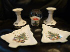 NIKKO Japan Christmas Tree HAPPY HOLIDAYS 5 pc Candle Holders Candy Dishes