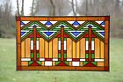 Handcrafted stained glass window panel Mission style panel 345W x 205H