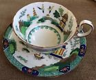 AYNSLEY TEA CUP AND SAUCER PAGODA BLUE WILLOW MADE in ENGLAND Vintage