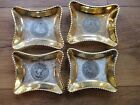 4 Hand decorated Le Miex Trays 24 KT gold