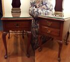 HENKEL HARRIS TABLES Cherry Queen Anne End, Side With Drawers #1272 PAIR VINTAGE
