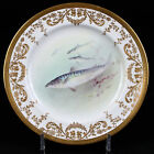 12 Royal Doulton Hand-Painted Gold Encrusted Fish Plates: signed C.Hart