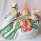 FITZ AND FLOYD TULIP SWAN SOUP TUREEN AND LADLE:  RETIRED, ORIGINAL BOX - NEW