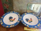 RARE FITZ & FLOYD COQ DU VILLAGE Soup Coupe Cereal Ice Cream BOWLS Blue Yellow
