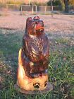 Chainsaw Carving Bear Cub Wood Totem Pole Hand Carved Rustic Cabin Deck Decor
