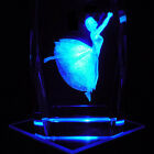 Ballerina S2 3D Laser Etched Crystal + Display Light Base FREE SHIPPING