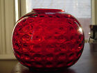 VINTAGE RUBY RED ART GLASS VASE LAMP BASE GLOBE POT BORSKE SKLO CZECH BOHEM MID
